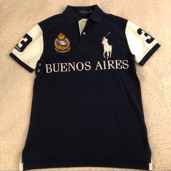 Ralph Lauren Men Custom Slim Fit Polo Shirt Number 3 Buenos Aires Navy Blue L